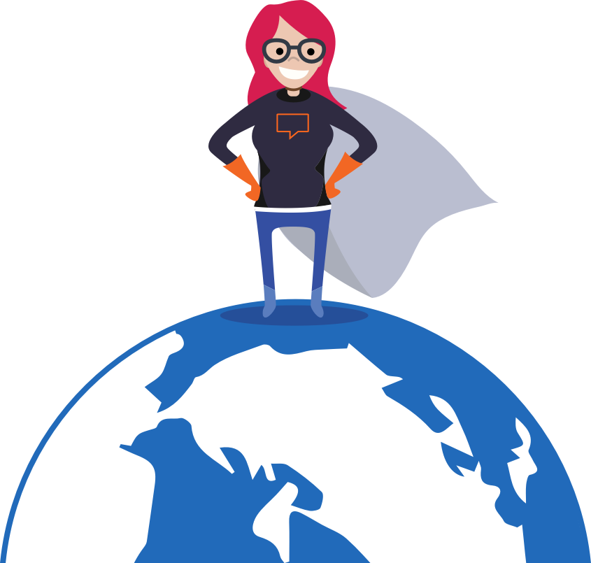 Superhero standing on a globe