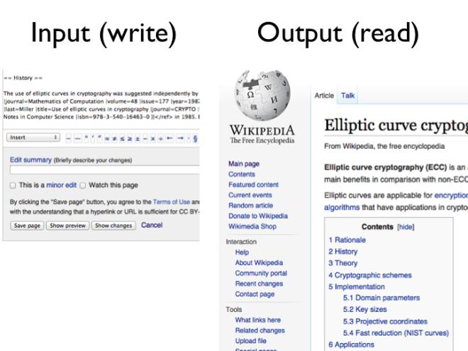 Wikipedia example: input = wiki markup, output = wiki page