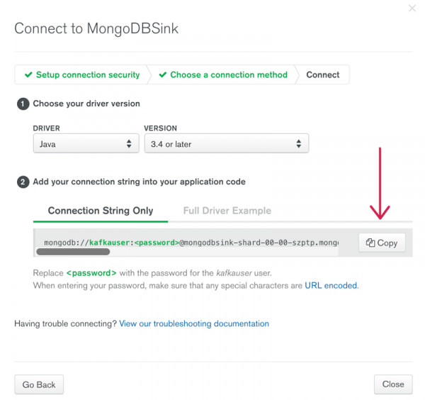 Connect to MongoDBSink