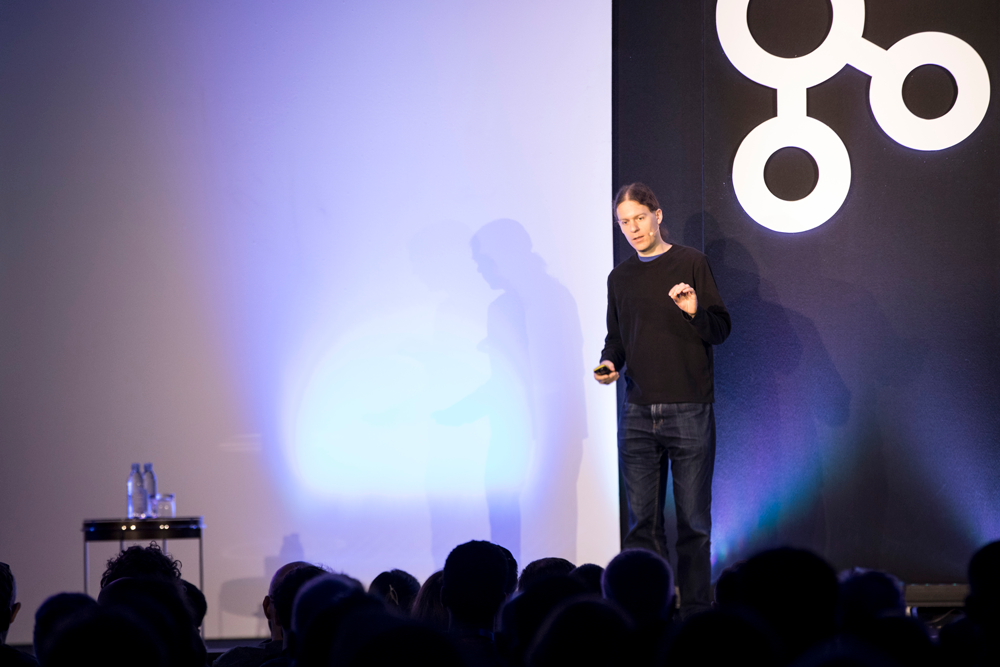 Martin Kleppman keynoting at Kafka Summit London 2019