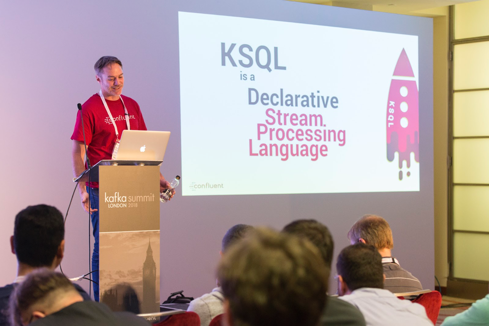 Neil Avery speaking about KSQL at Kafka Summit