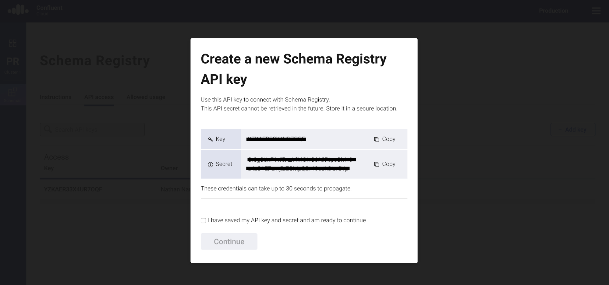 Create a new Schema Registry API key