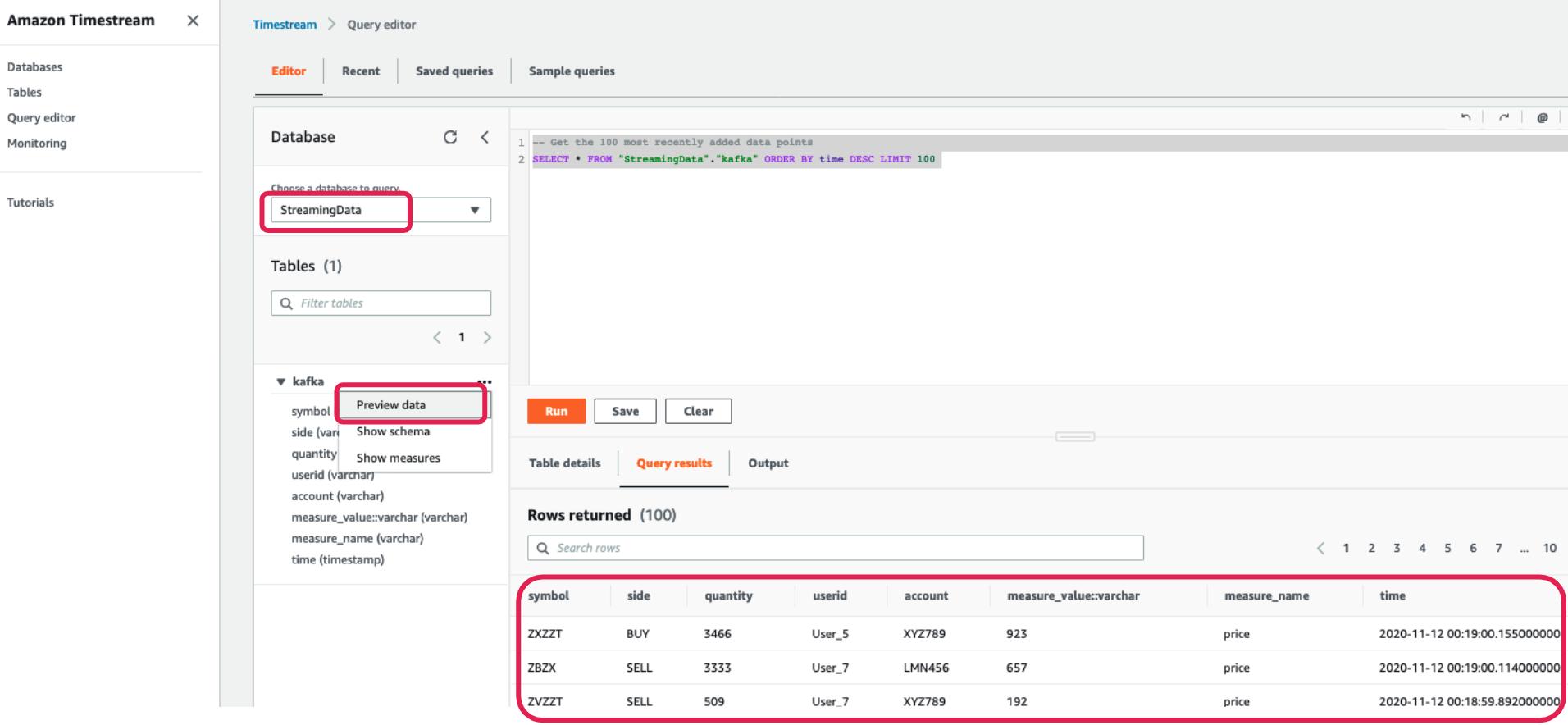 Streaming Data | Preview Data | Run