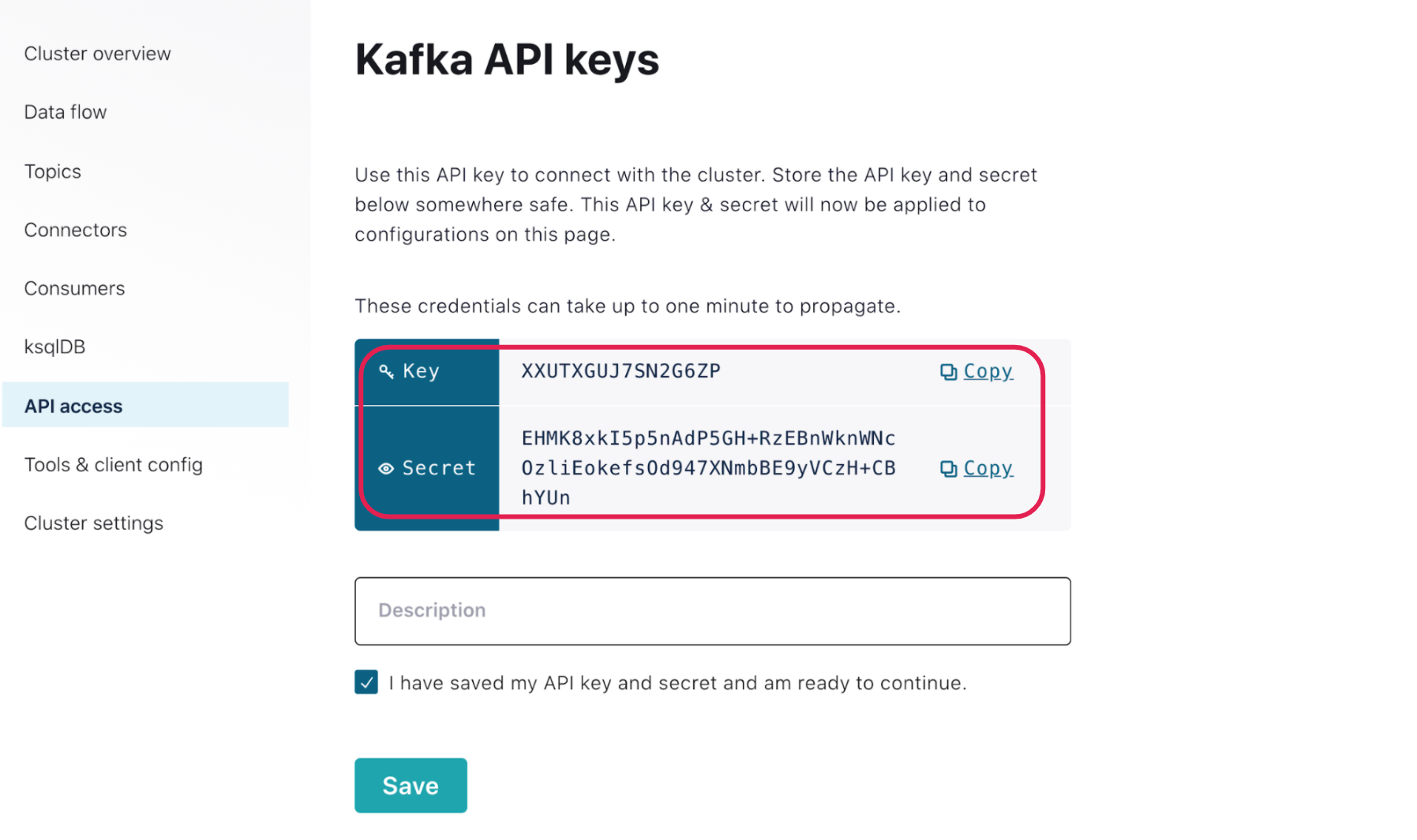 API access | Kafka API keys | Key | Secret