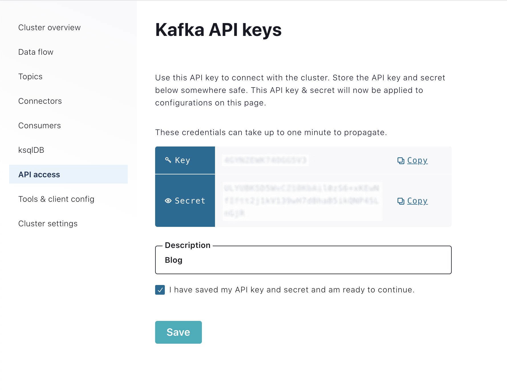 Kafka API key and secret