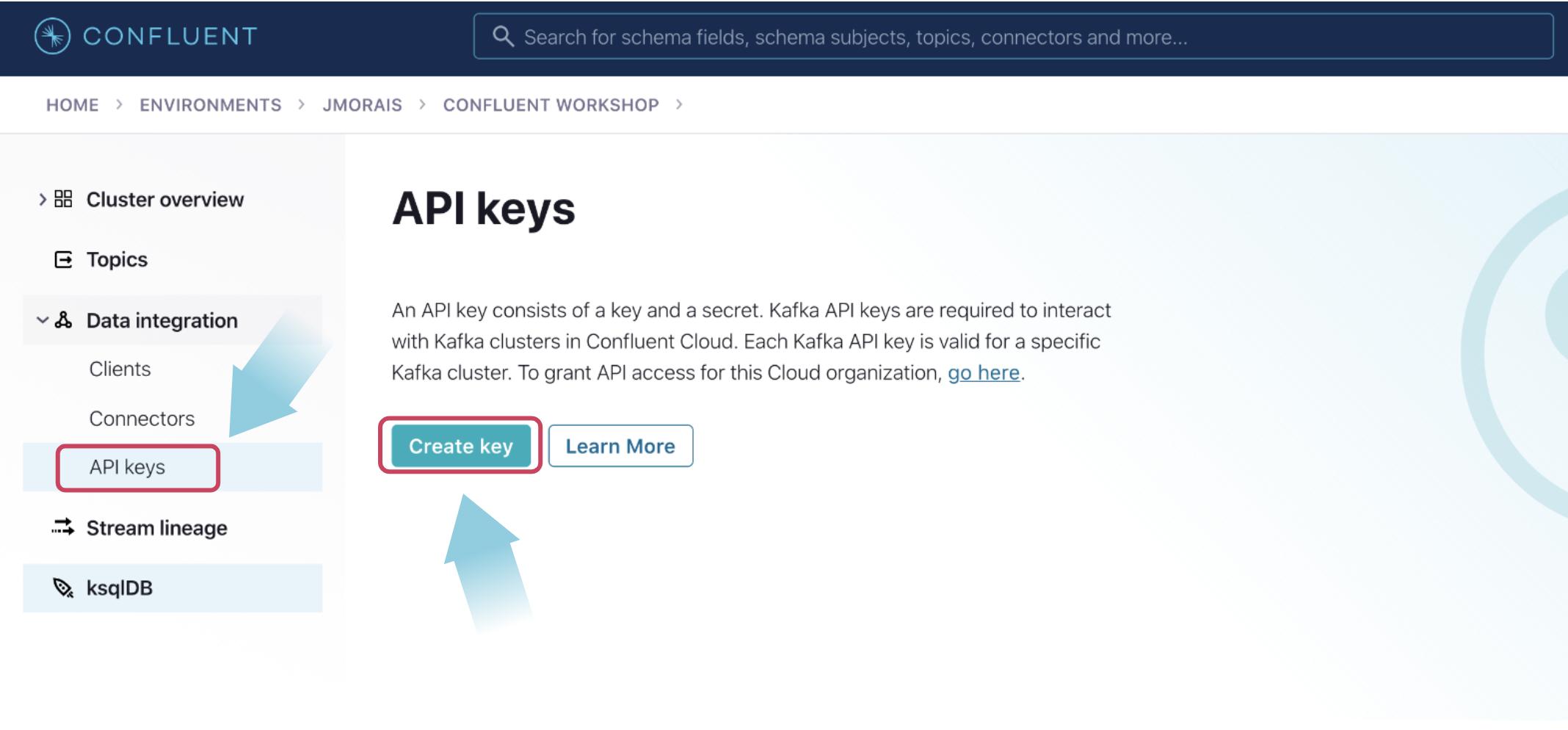 Create cluster API keys