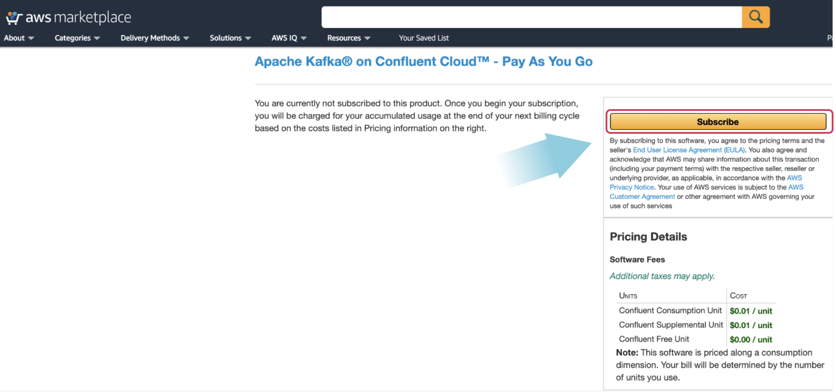 Subscribe to Confluent Cloud in the AWS Marketplace