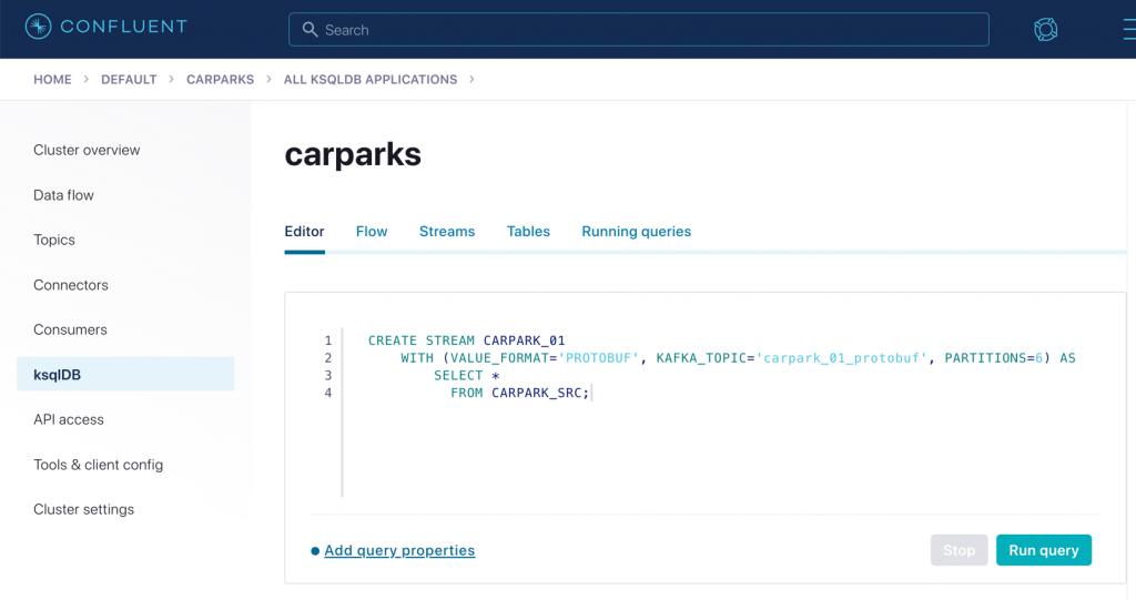 carparks | ksqlDB: Editor