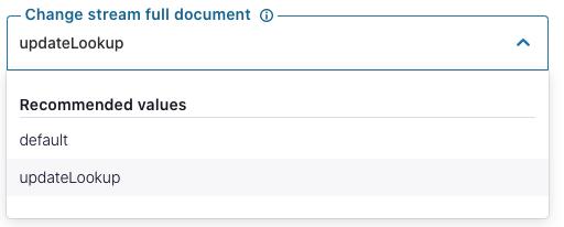 "Setting ""Change stream full document"" to updateLookup"