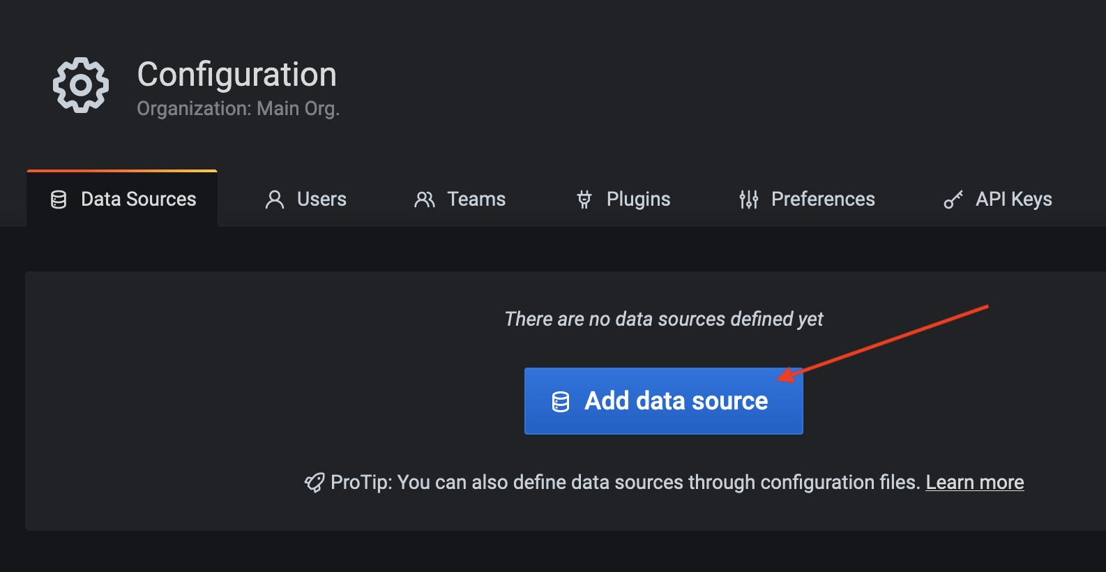 Click add data source