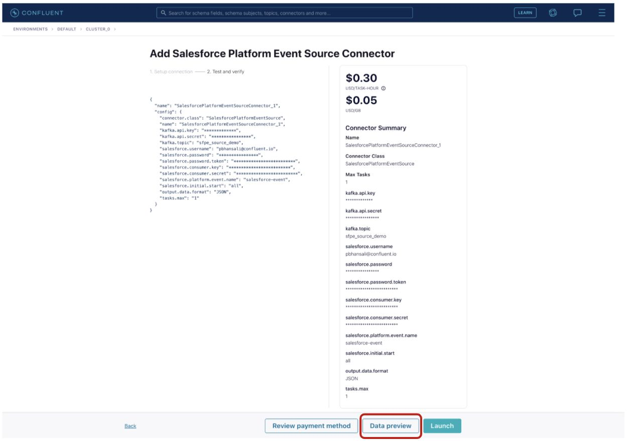Provide the connector configurations and click the Data preview button