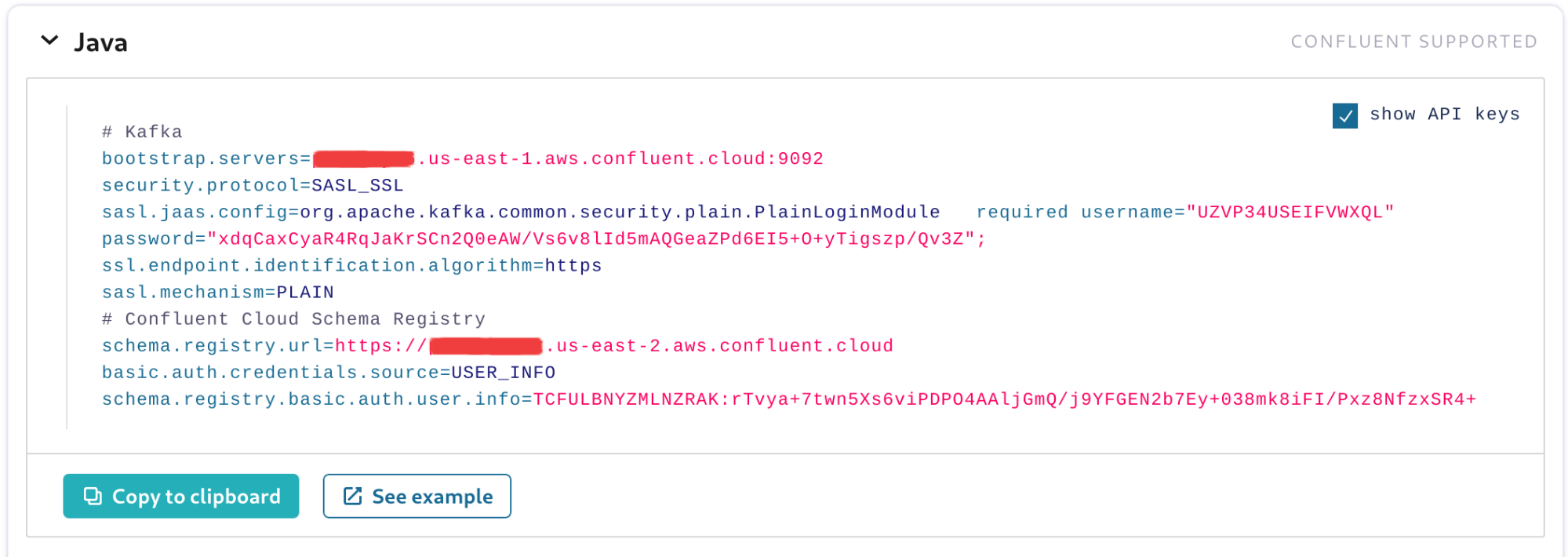 Client configuration ready to be copied to the application