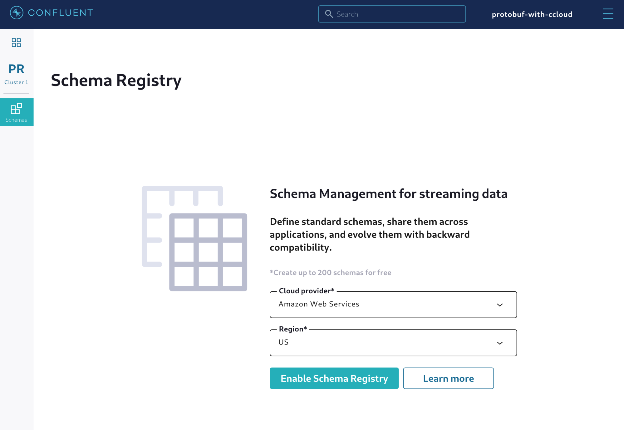 Choosing the cloud provider and region for the managed Schema Registry
