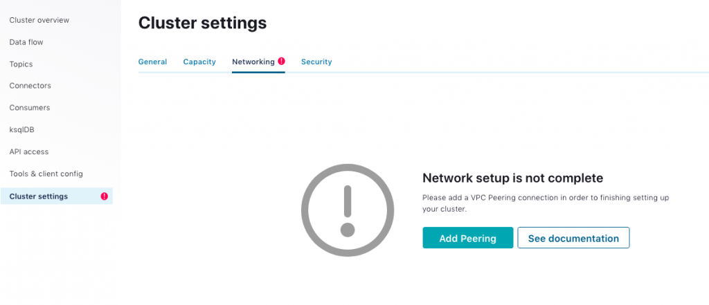 Cluster settings: add peering