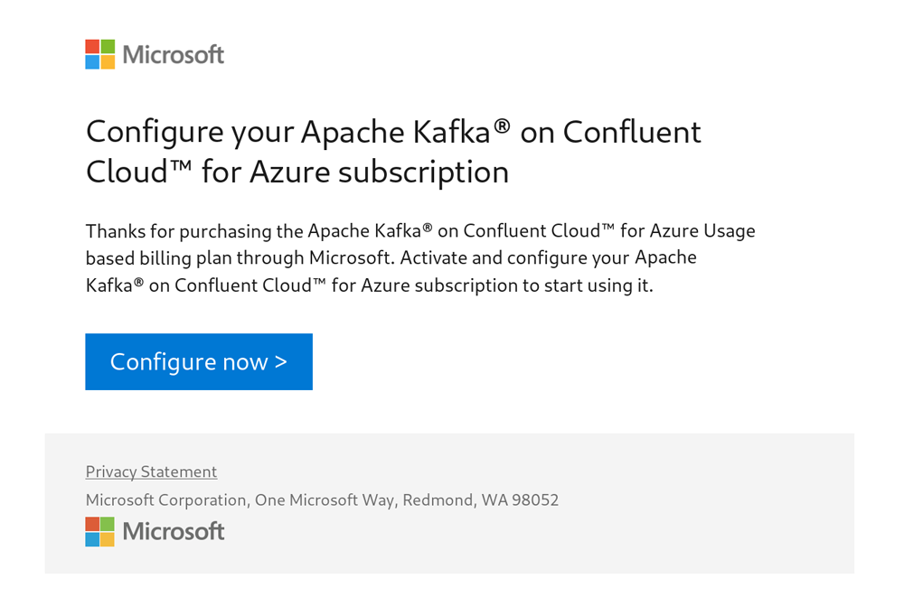 Configure your Apache Kafka® on Confluent Cloud™ for Azure subscription