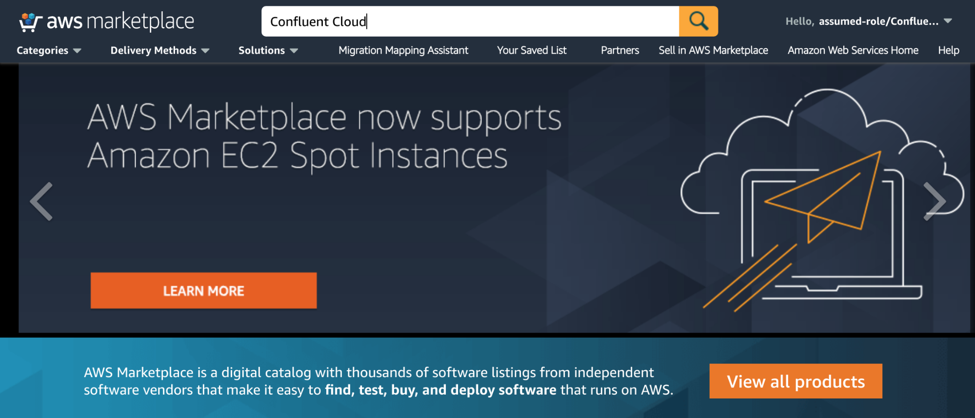 Searching for Confluent Cloud in the AWS Marketplace