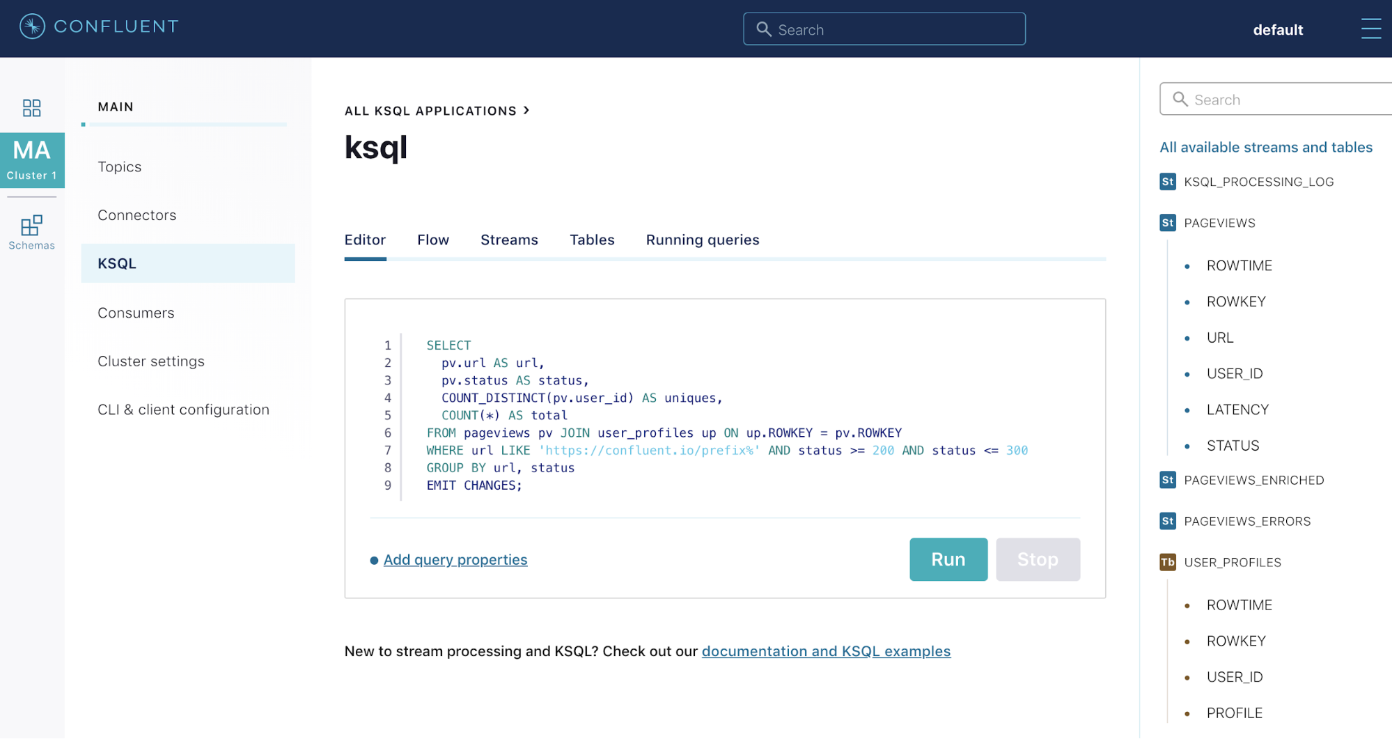 Confluent Cloud KSQL Web Interface