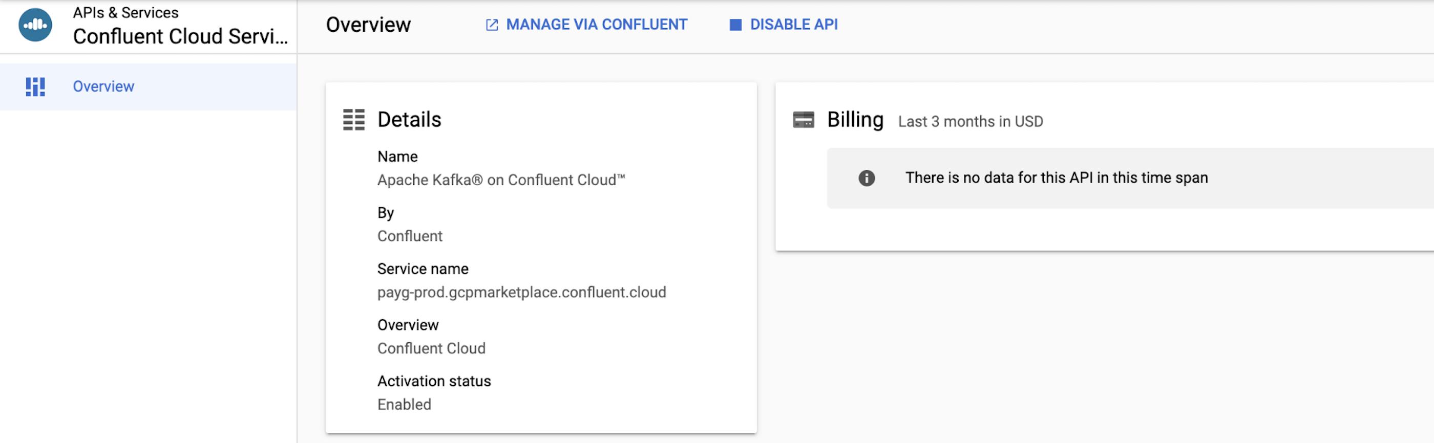 APIs & Services Confluent Cloud Services   Overview