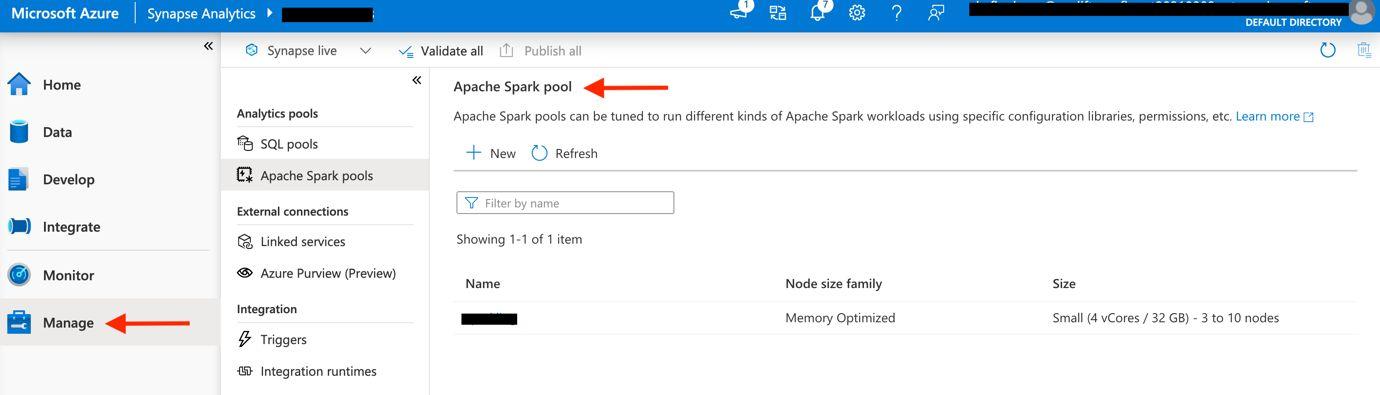 Create a serverless Apache Spark pool