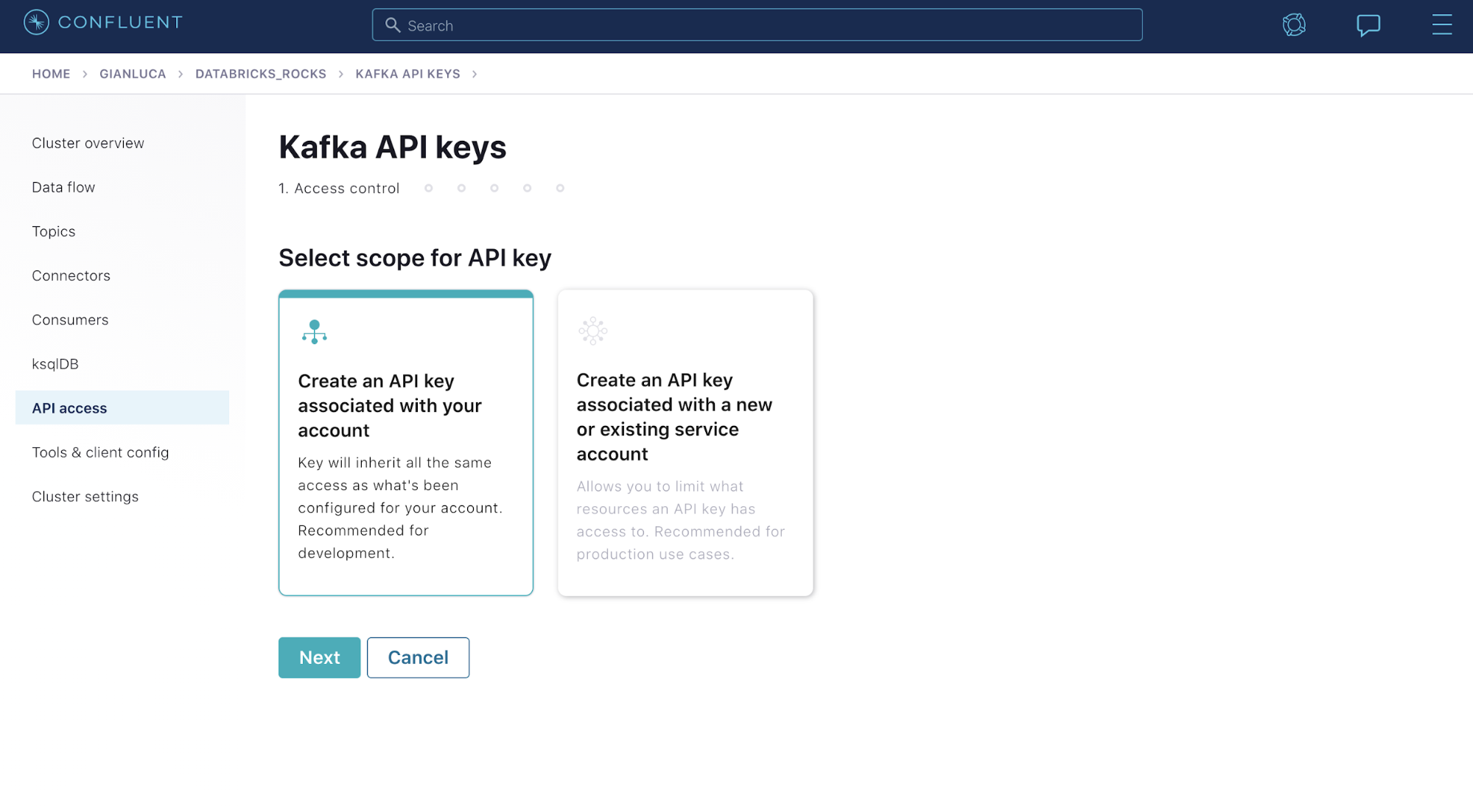 Select scope for API key