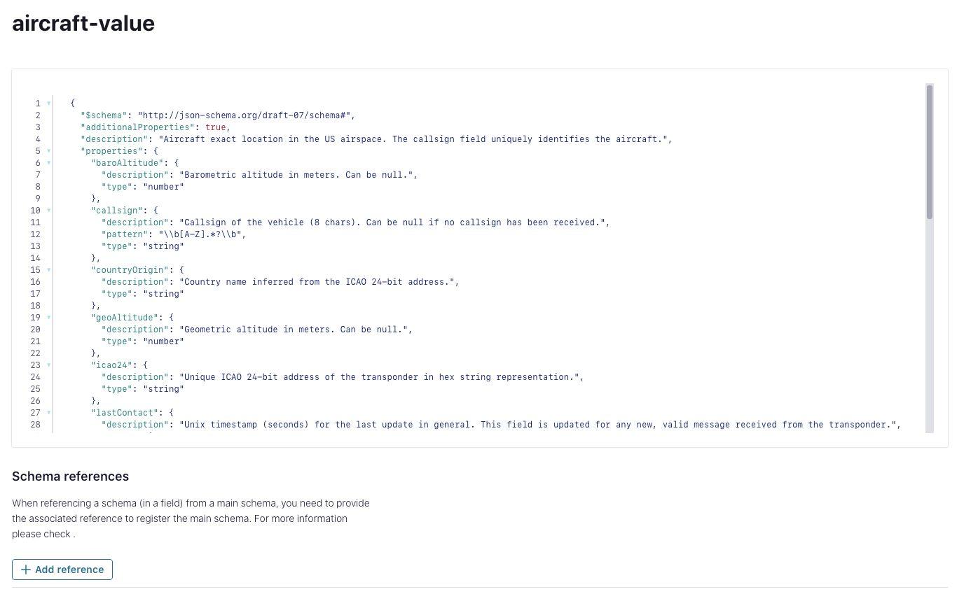 Create JSON schema in schema registry
