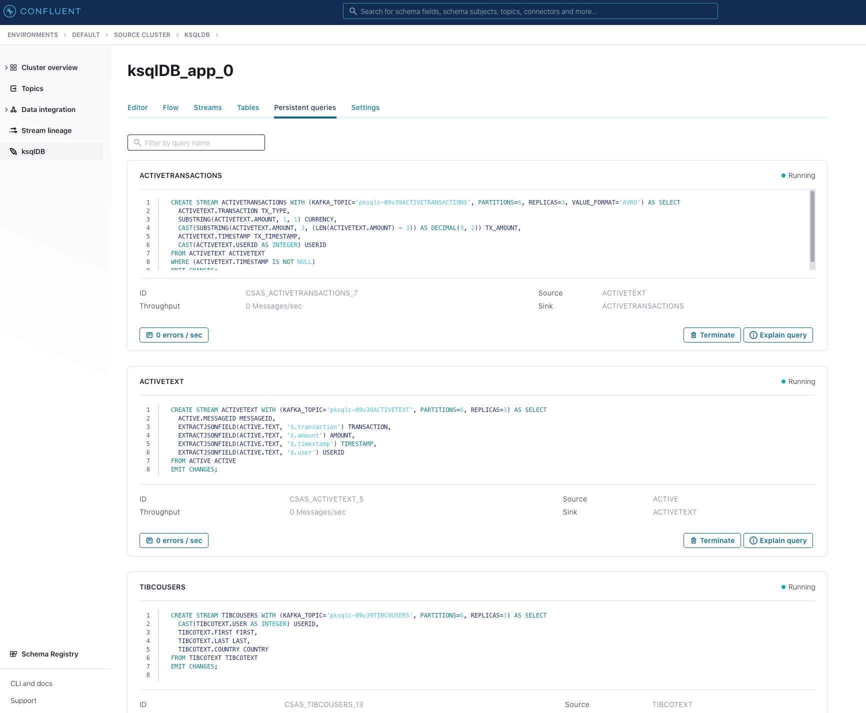 Create new streams in Confluent Cloud