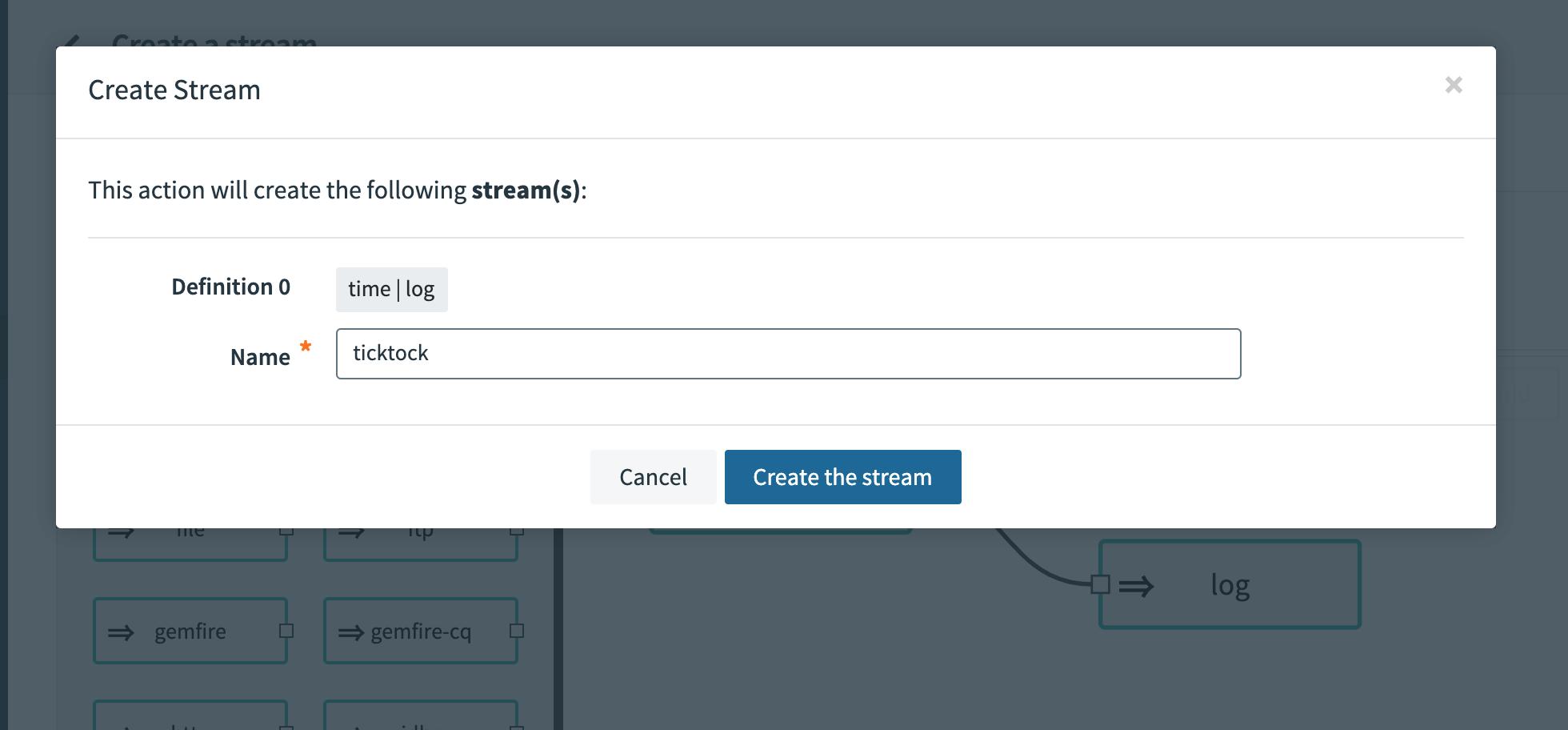 Create Stream   ticktock