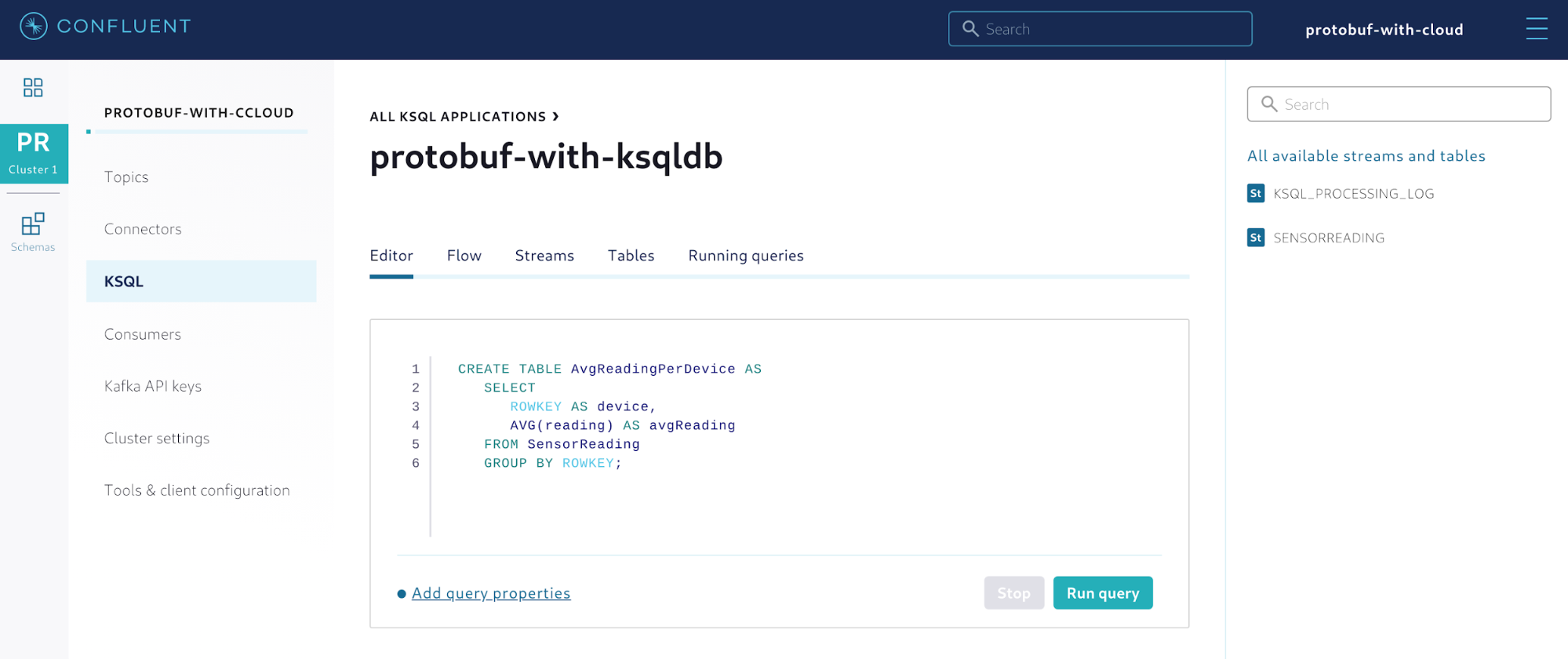 Creating a table to aggregate the sensor readings