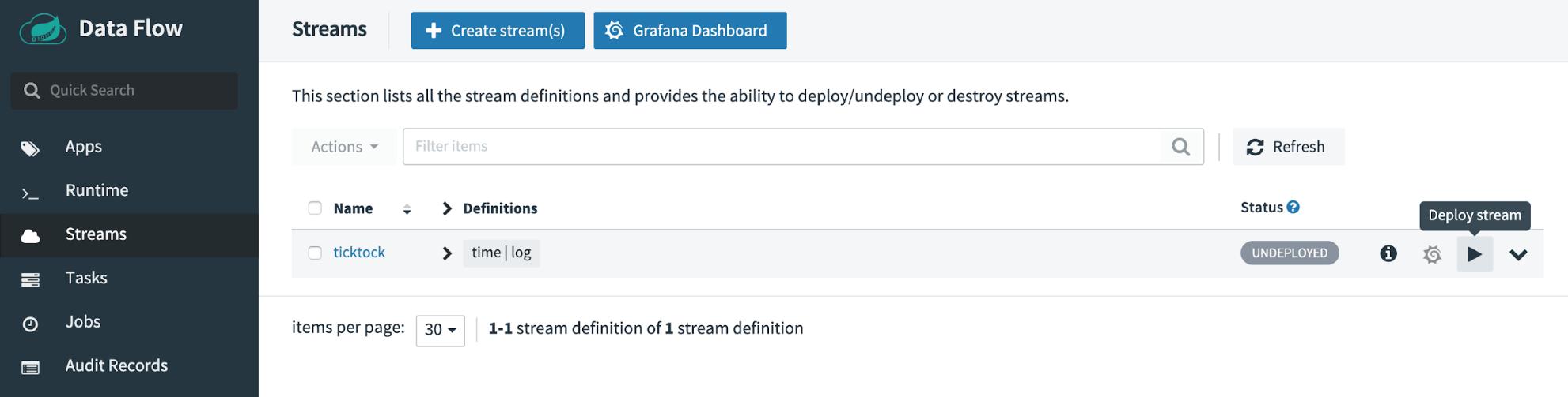 Spring Cloud Data Flow   Streams   Grafana Dashboard