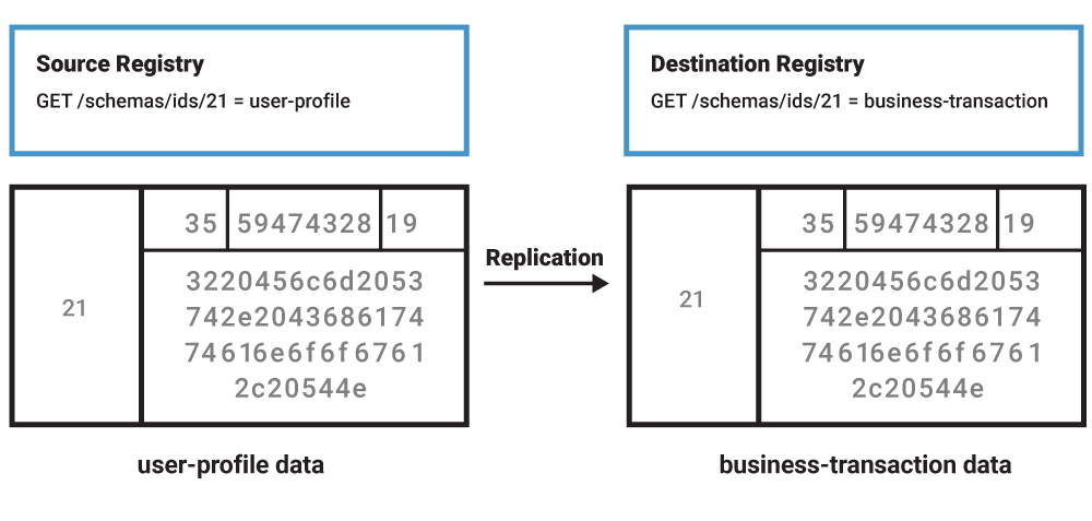 Source Registry | User-Profile Data ➝ Replication ➝ Destination Registry | Business-Transaction Data