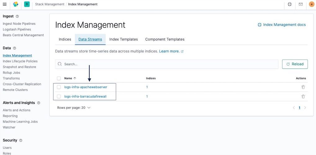 Data streams section in Elasticsearch