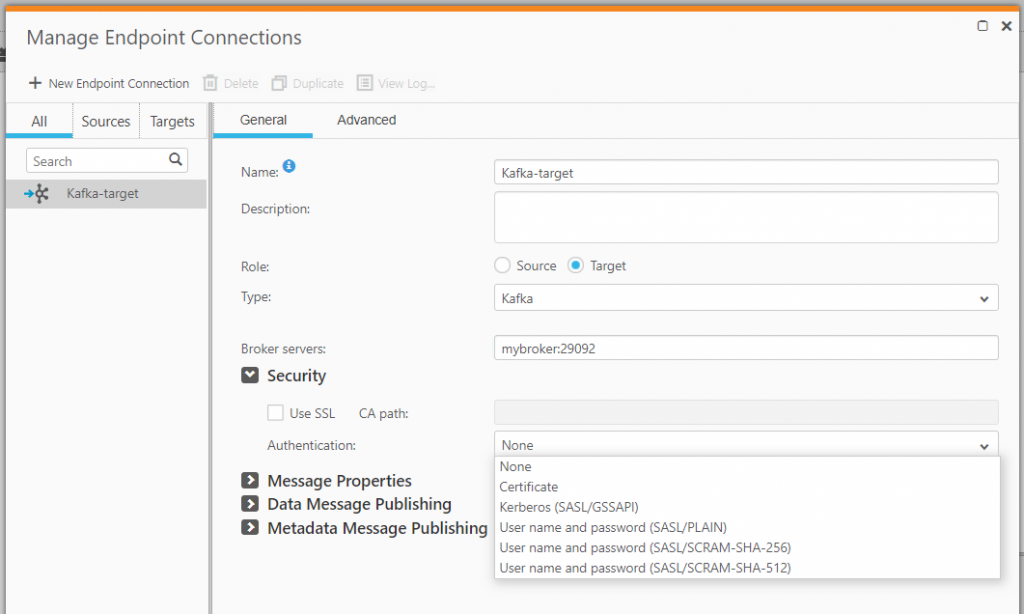 Manage Endpoint Connections: Kafka-target