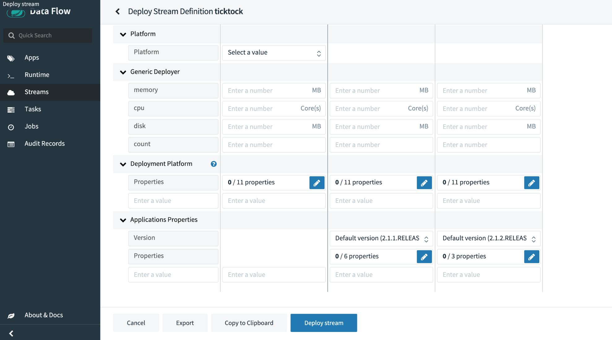 Data Flow   Deploy Stream Definition ticktock