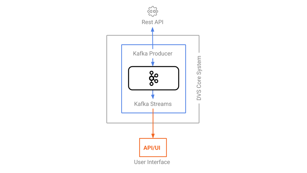 DVS architecture with arrows showing the direction of the dataflow