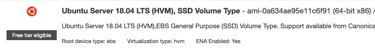 Ubuntu Server 18.04 LTS (HVM), SSD Volume Type