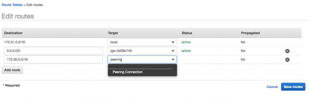 Edit routes | Target: peering
