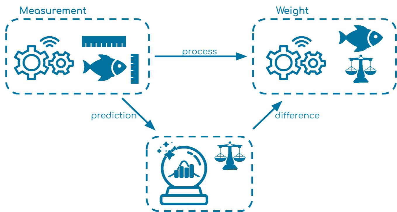 Overview of a generated example using a factory for fish processing