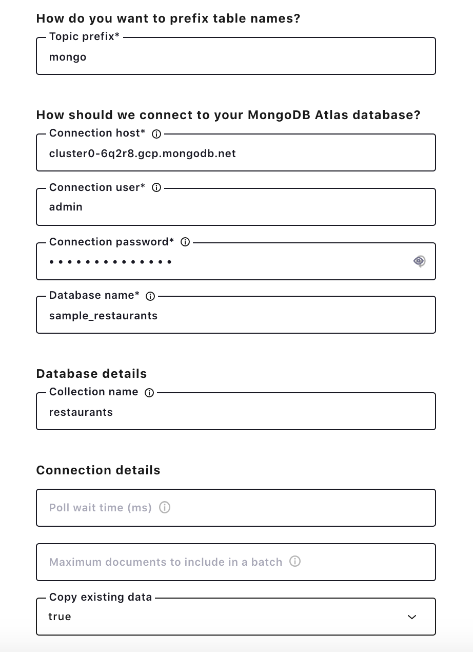 How do you want to prefix table names? | How should we connect to your MongoDB Atlas database? | Database details | Connection details