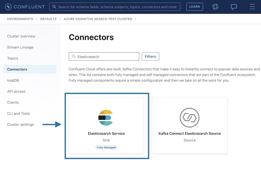Elasticsearch connector in Confluent Cloud