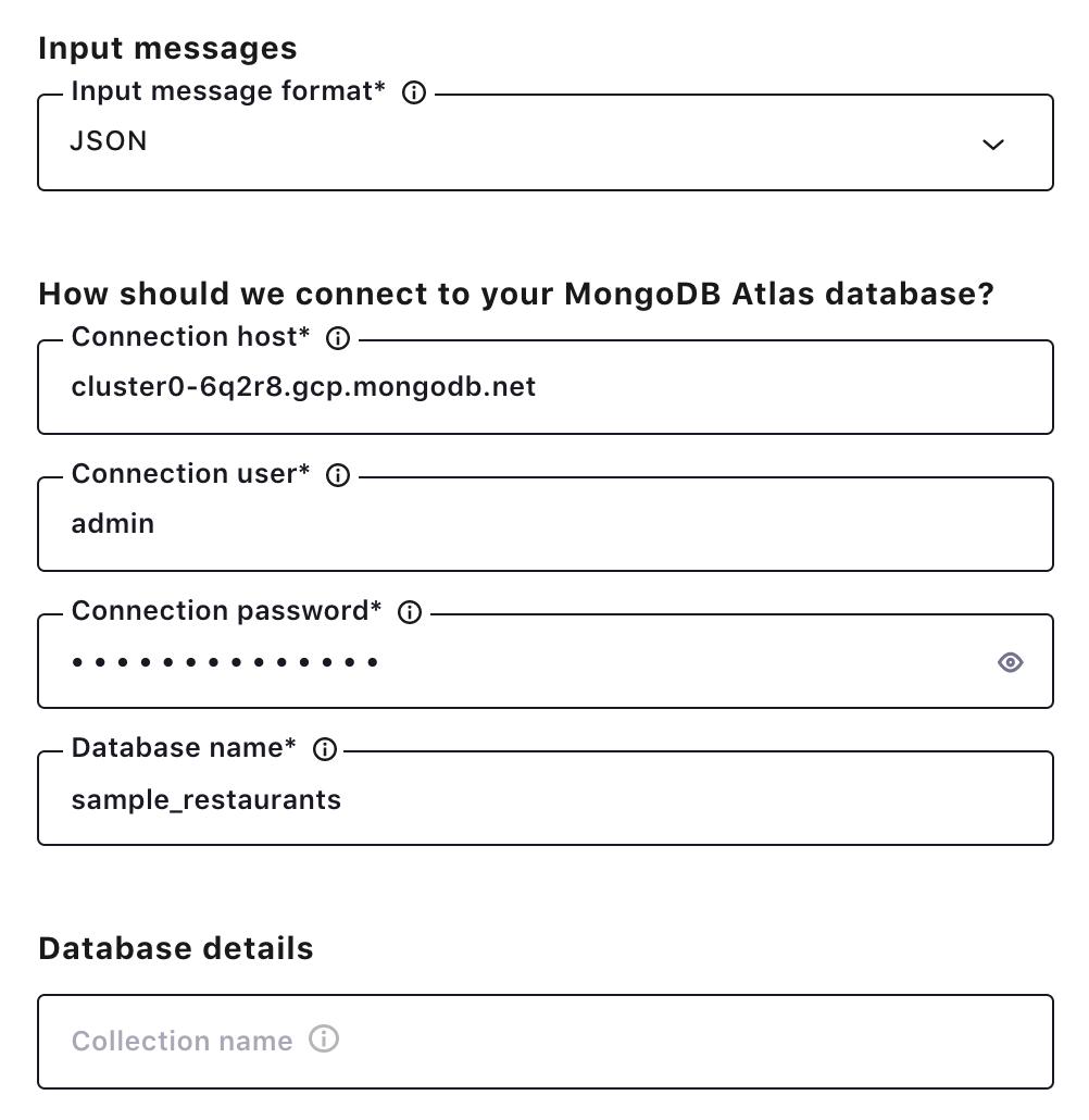 MongoDB Atlas configuration details