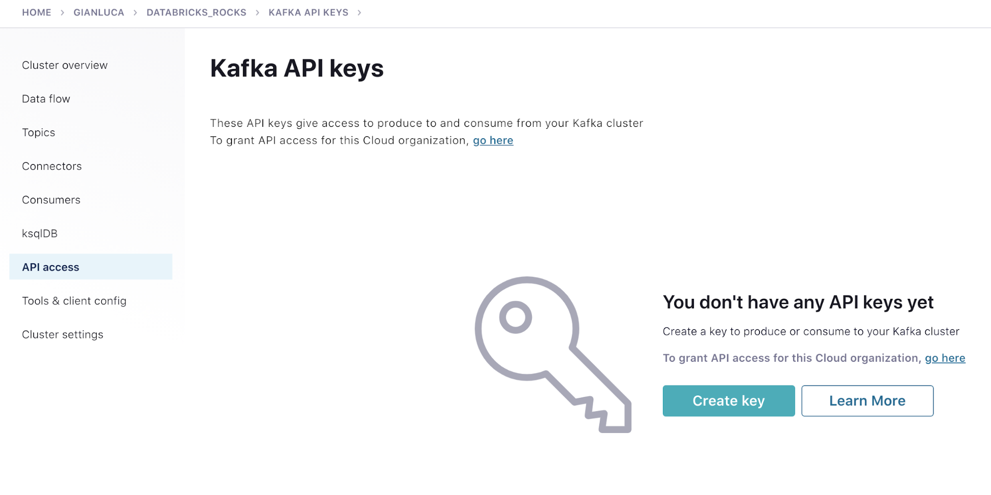 Kafka API keys homepage