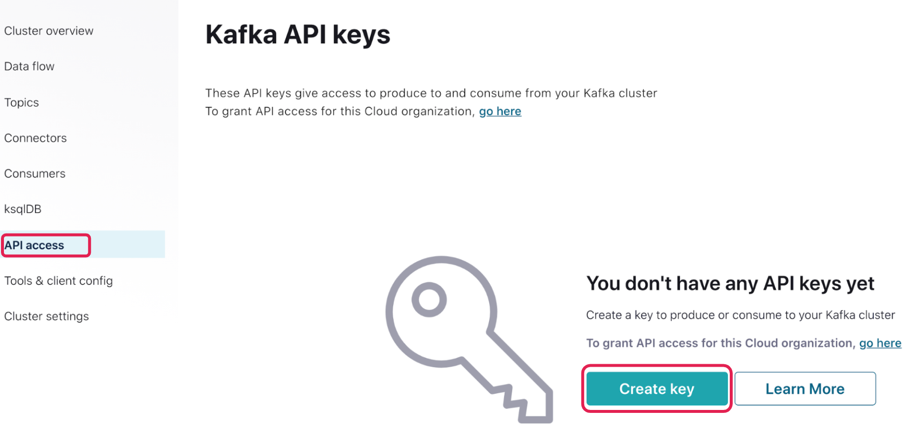 Kafka API keys | API access | Create key