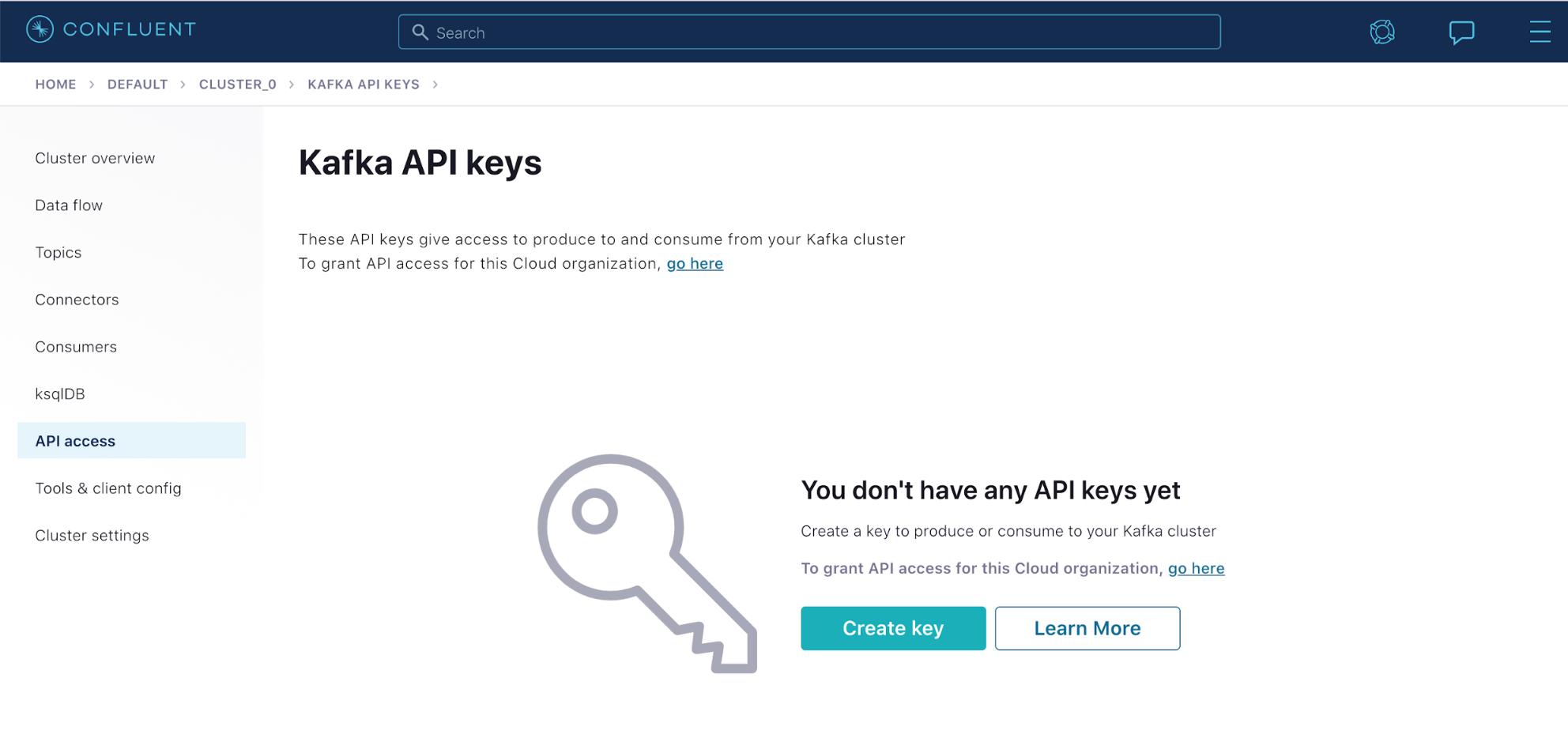 Kafka API keys | Create key