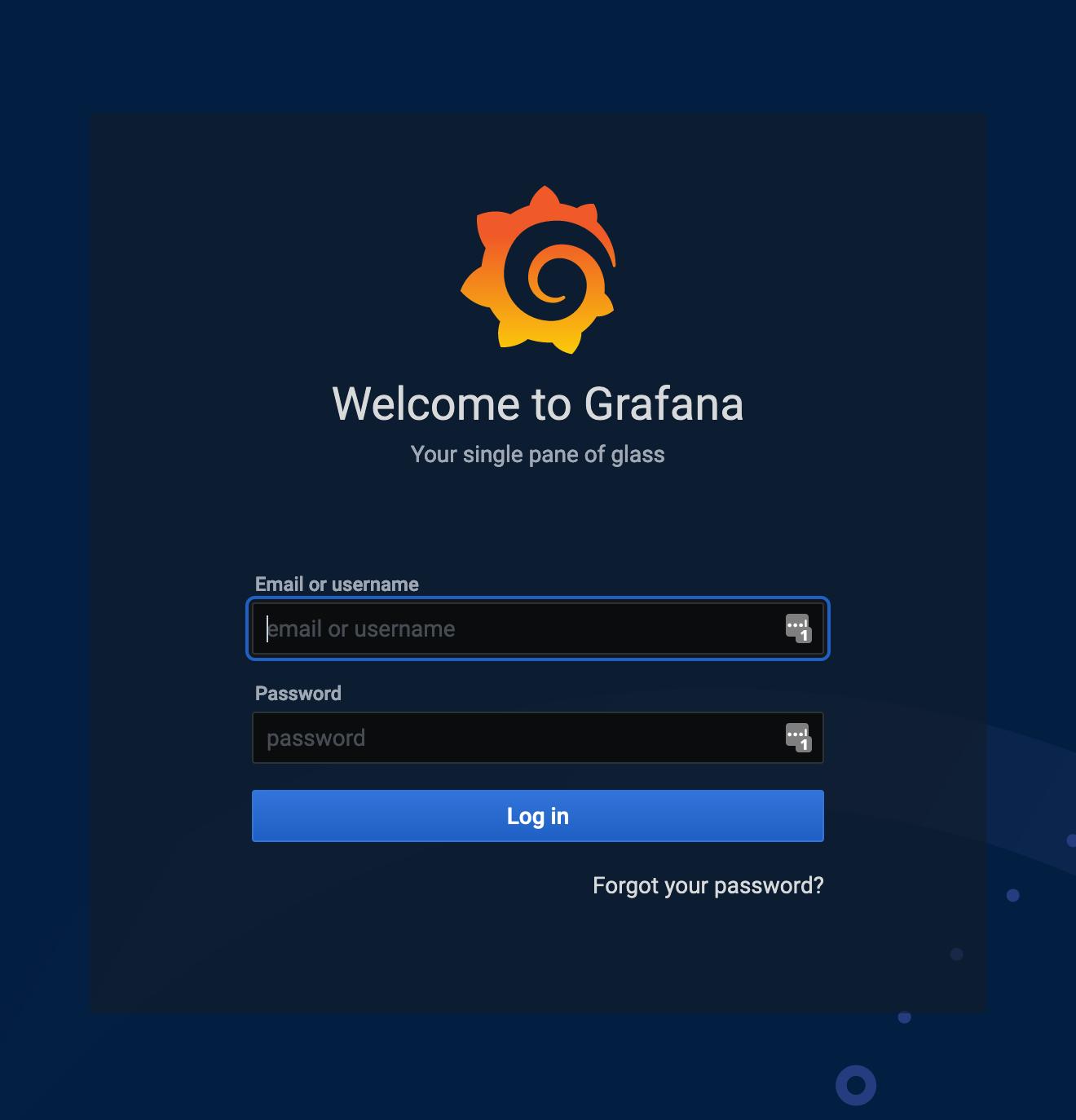 Log in to Grafana