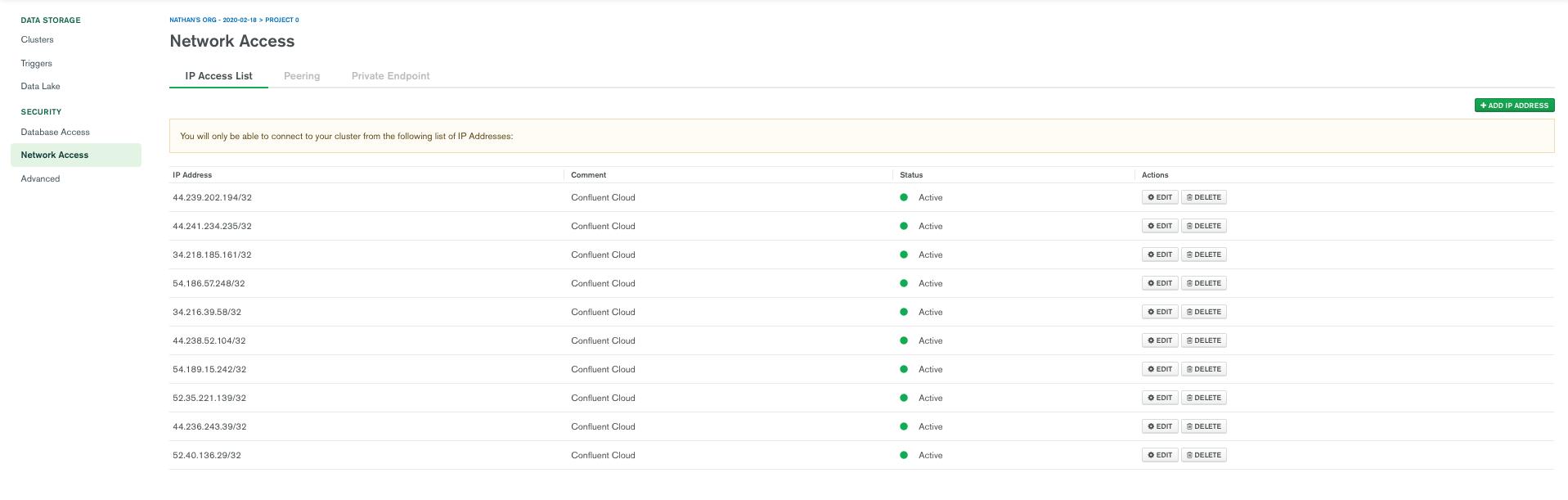 MongoDB Atlas network access page