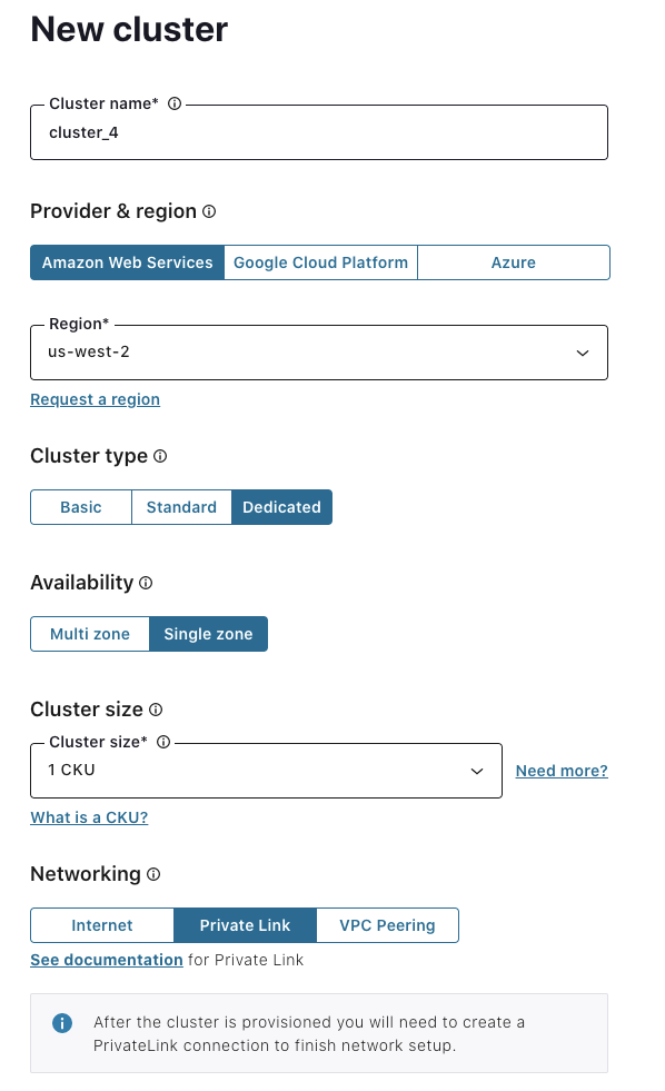 new cluster in AWS