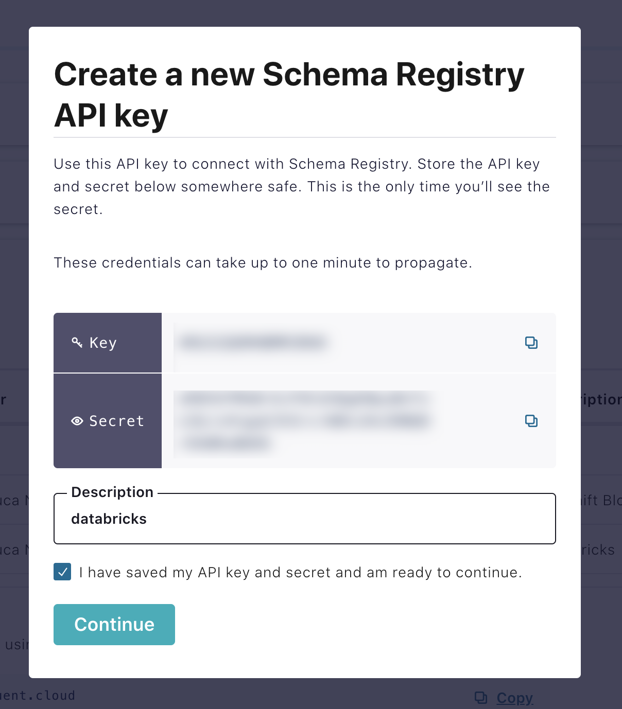 New Schema Registry API key creation