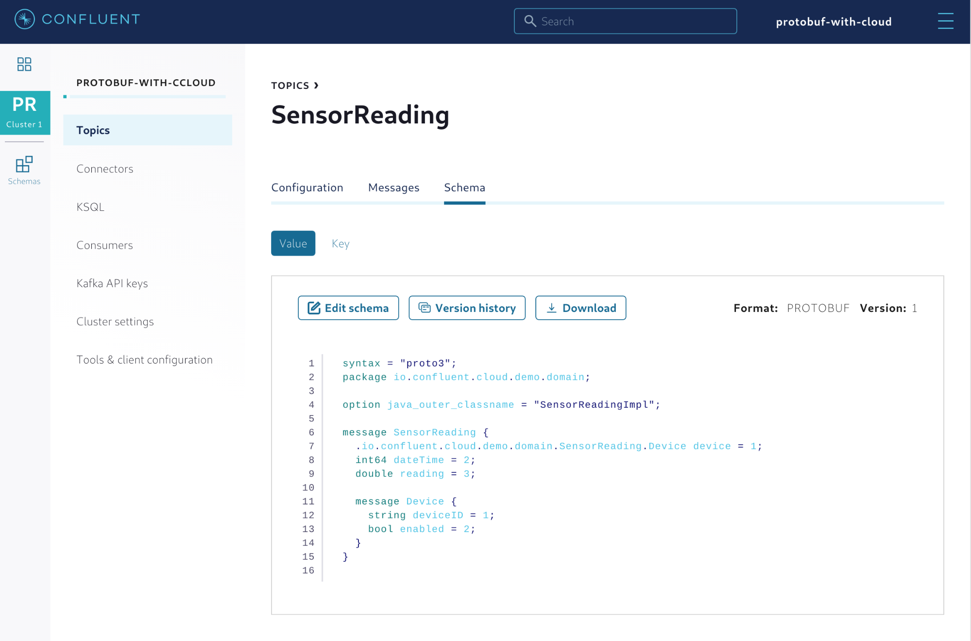 Protobuf schema properly registered with Confluent Cloud