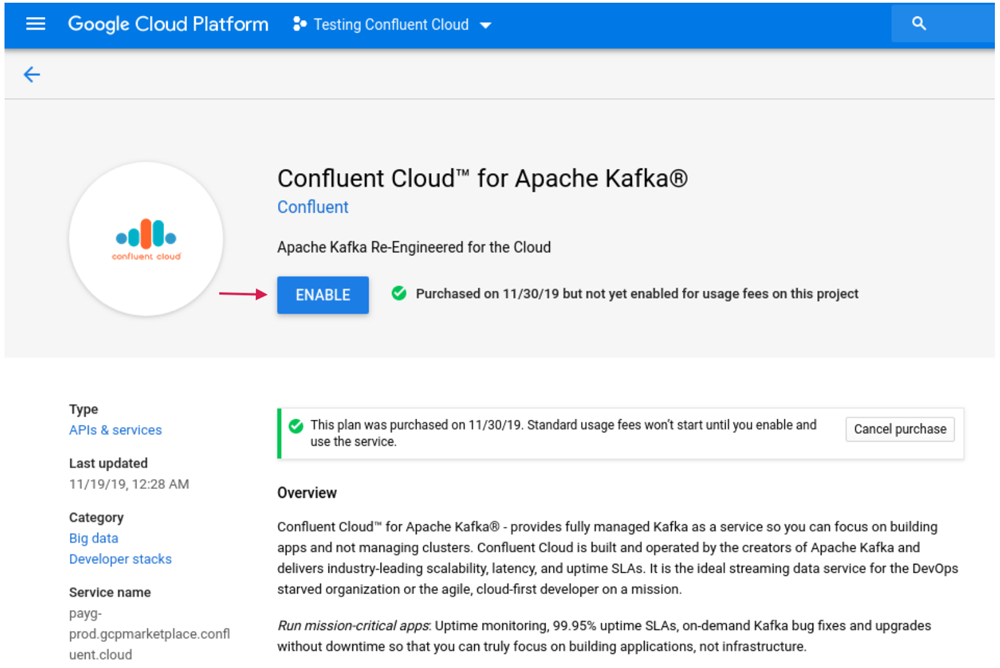 Figure 4. Enabling the Confluent Cloud API on GCP