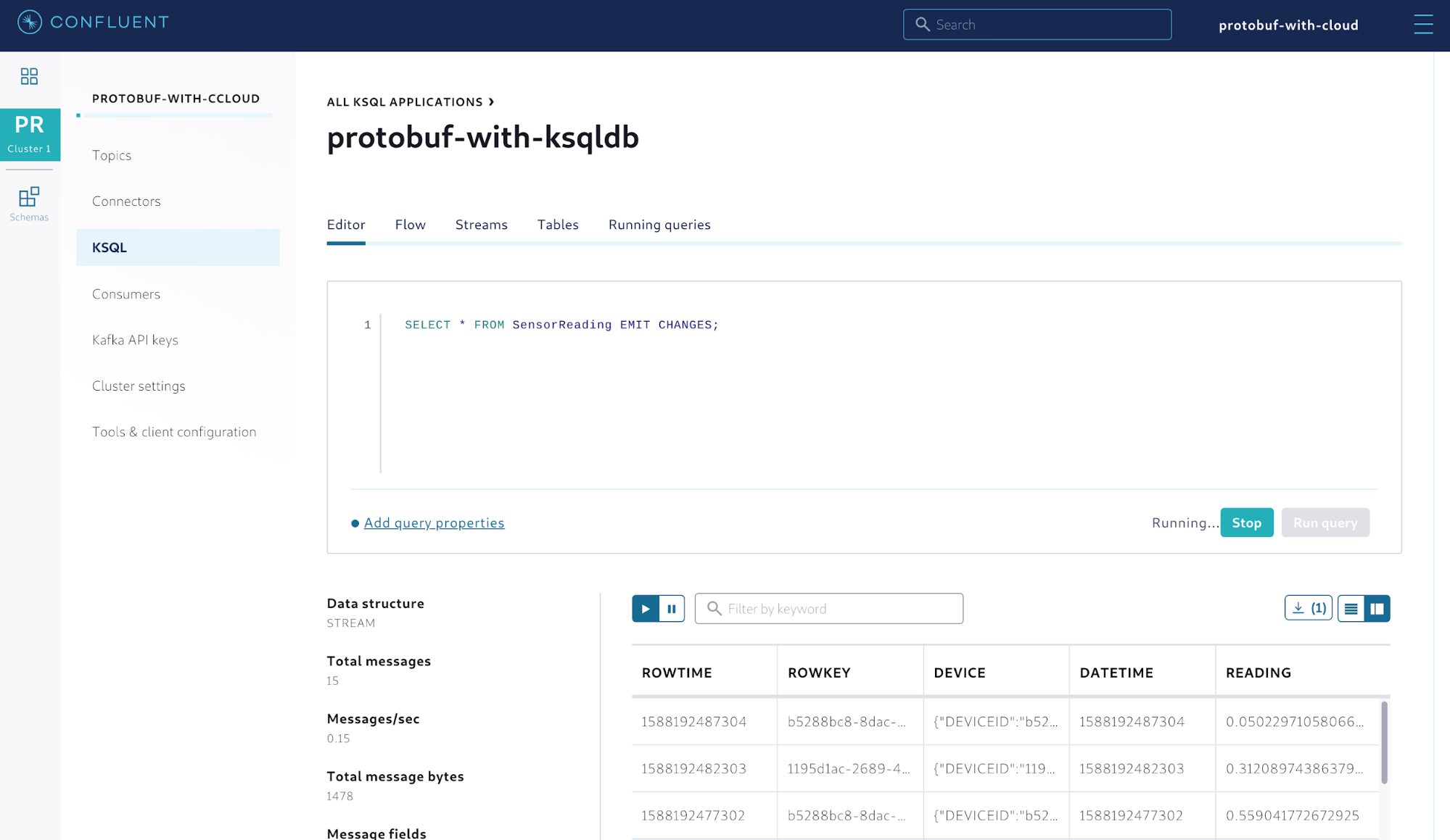 Querying the stream of sensor readings
